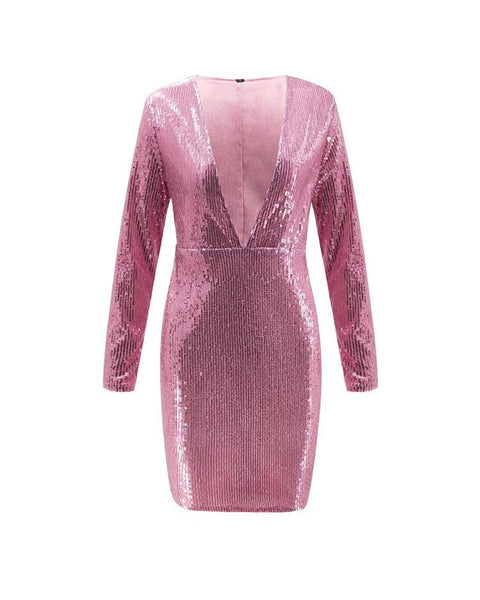 Deep V-Neck Long Sleeve Sequin Party Dress