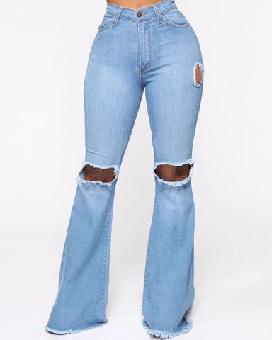 Solid Ripped Bell Denim Pants