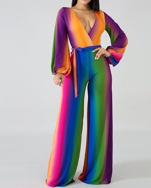 Rainbow Deep V Flare Jumpsuit