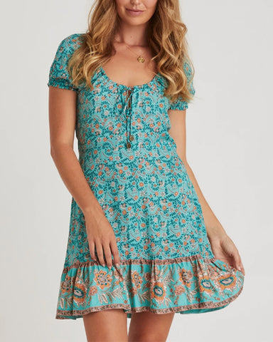 Lace-up All Over Print Ruffle Hem Short Sleeve Mini Dress