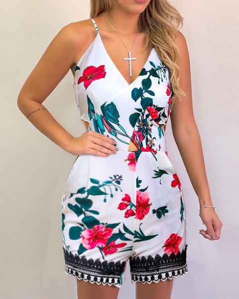 Tropical Print Cutout Lace Trim Romper