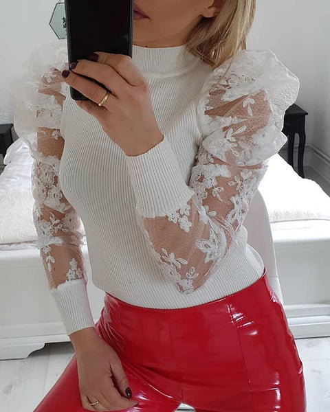 Lace Puffed Sleeve Knit Top