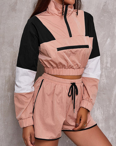 Color Block Long Sleeve Cropped Sweatshirt And Short Pants Suit Sets