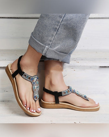 Crystal Patch Post-toe Flat Sandals