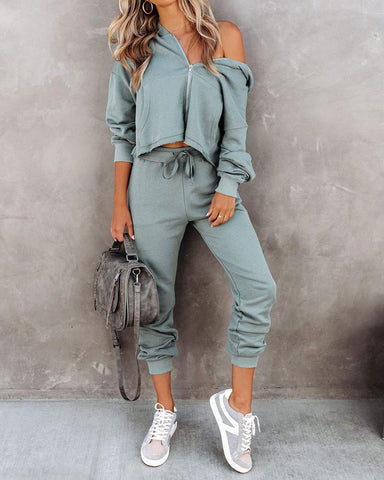 Solid Long Sleeve Loose Sweatshirts Suit Sets