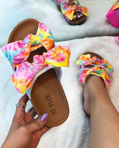 Multicolor Bowknot Upper Flat Sandals