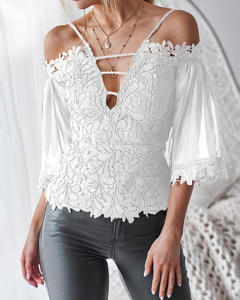 Cold Shoulder Guipure Lace Zipper Back Blouse