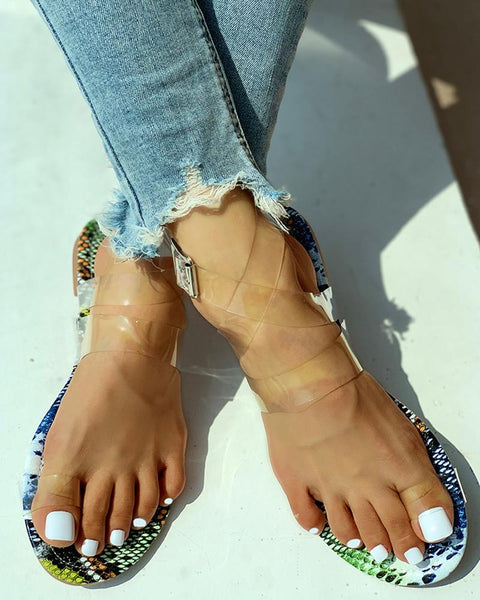 Buckled Open Toe Transparent Flat Shoes