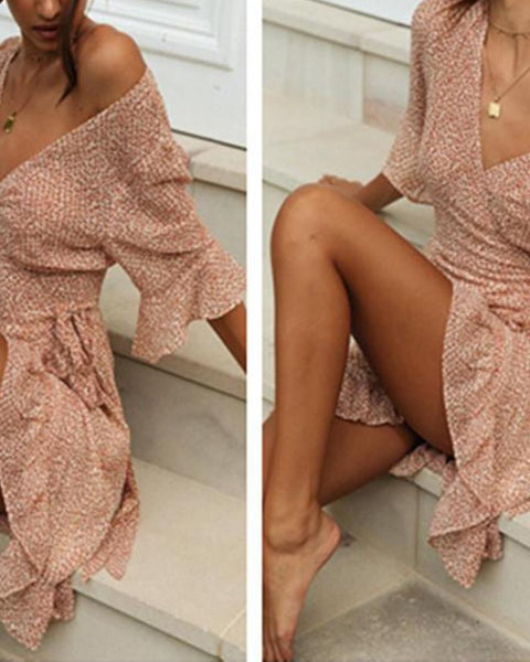 Printed Lace-up Holiday Dress