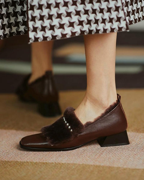 Solid Round-toe Fluffy Upper Low Heel Loafers