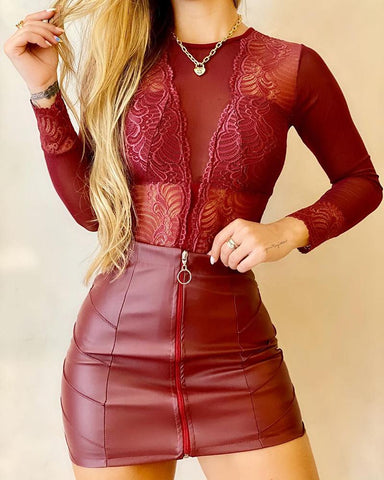 Guipure Lace Long Sleeve Top & Pu Leather Skirt Set