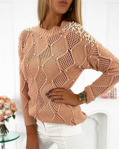 Beaded Hollow Out Casual Sweater