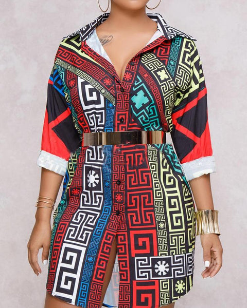 Oversize Digital Print Casual Shirt Dress