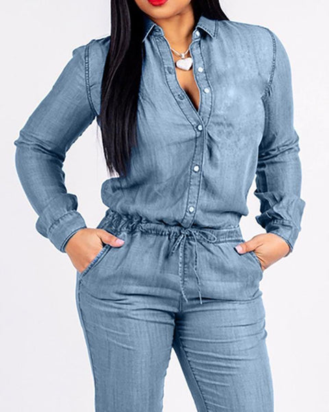 Pocket Design Drawstring Denim Jumpsuit