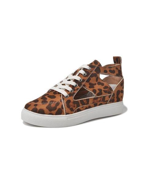 Leopard Cut-out Lace-up Closure Flat Sneakers