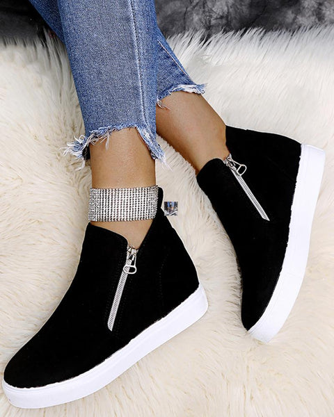 Round-toe High Top Zipper Closure Flat Sneaker