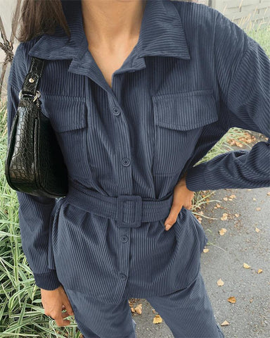 Solid Long Sleeve Loose Blouse With Corduroy Pants Suit Sets