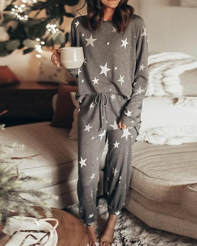 Star Printing Long Sleeve Pajamas Sets