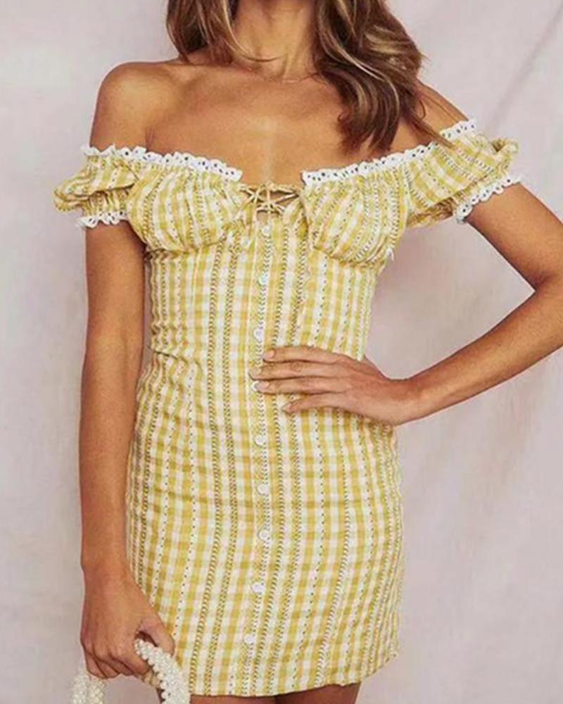 Off Shoulder Lace Trim Plaid Dress