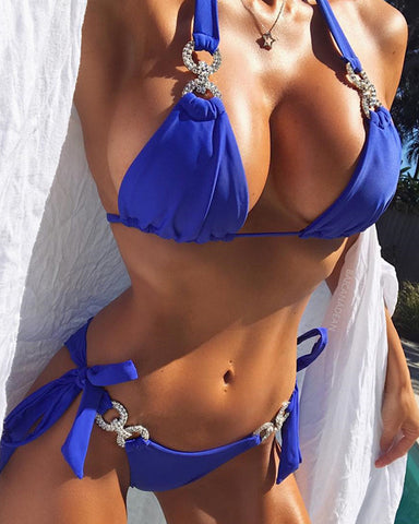 Solid Strappy Bra With Strapp Panties Bikini Sets