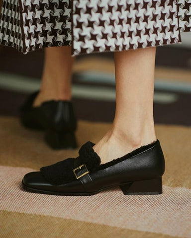 Solid One Buckle Fluffy Low Heel Loafers Slip-on