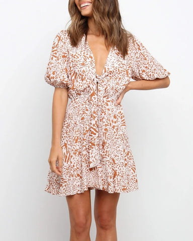 All Over Print Lace-up Puff Sleeve Mini Dress