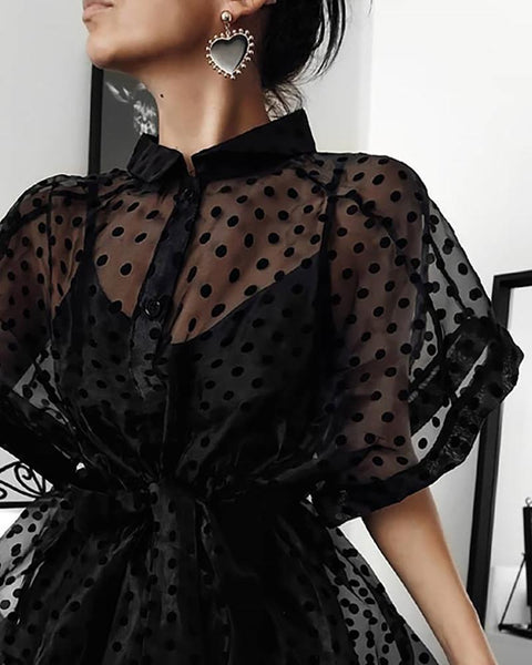 Dot Print Semi Sheer Buttoned Blouse