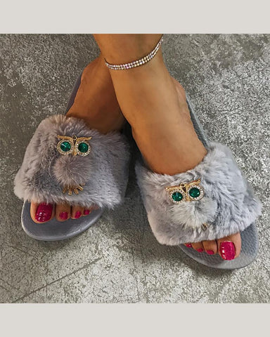 Open-toed Fur Striped Platform Slippers with Owl Pattern