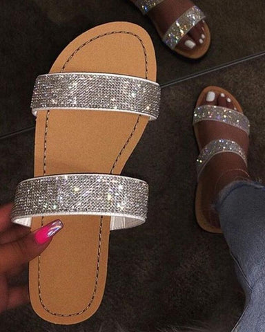 Crystal Glitter Shinny Double Bandages Flat Sandals