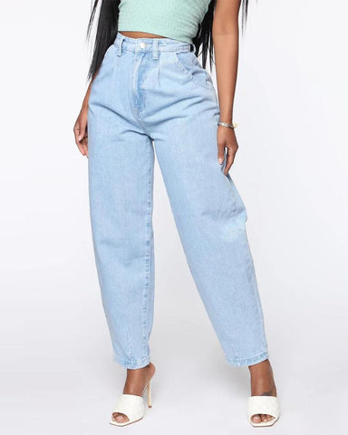 Solid Loose High Wait Tapper Denim Pants