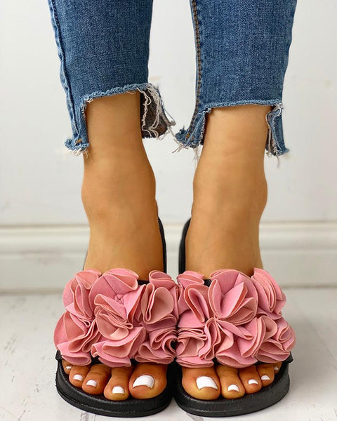 Ruched Flower Embellished Flat Sandals
