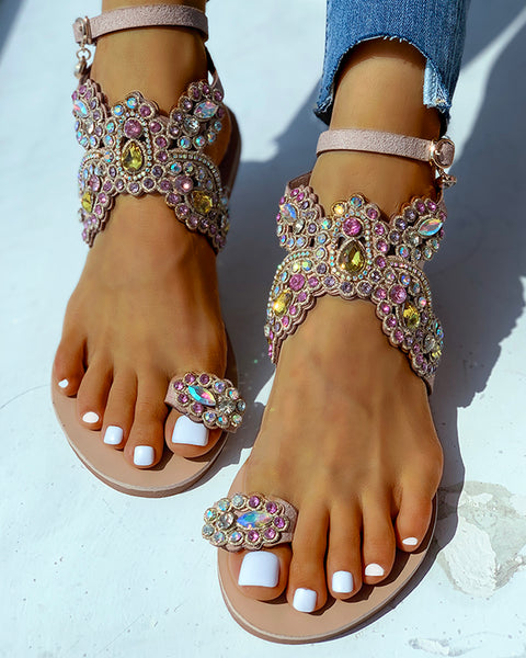 Toe Ring Studded Flower Pattern Flat Sandals