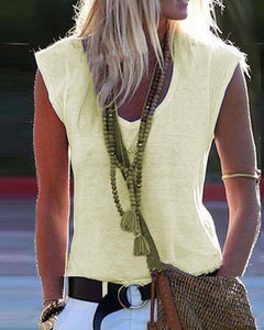 V Neck Sleeveless Top