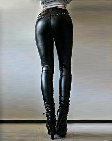 Solid Skinny Lace-up Punk Pants