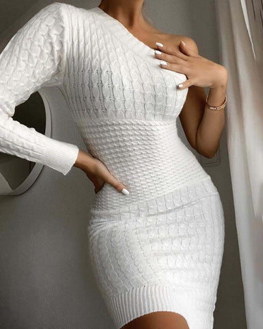 One Shoulder Knit Bodycon Dress