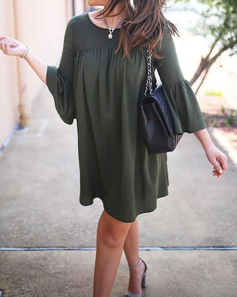 Solid Bell Sleeve Casual Mini Dress