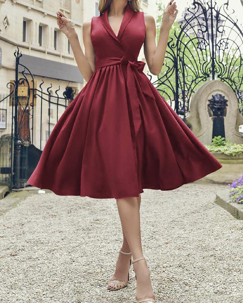Knotted Front Fit and Flare Dress