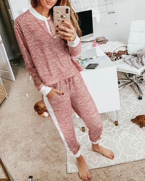 Stitching Striped Long Sleeve Casual Suit Sets