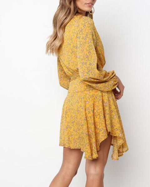 Floral V-Neck Wrap Mini Dress