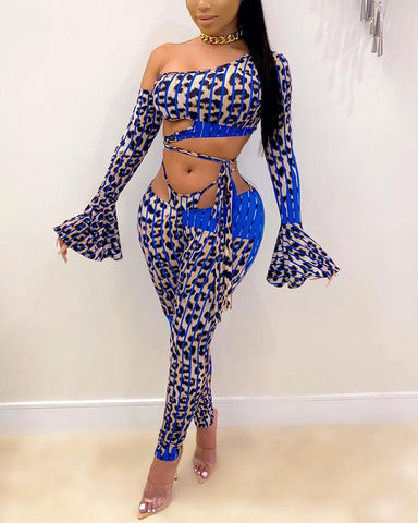 Sexy Leopard Flared Sleeves Bodysuit