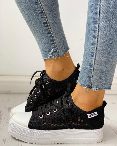 Colorblock Eyelet Hollow Out Lace-Up Sneakers