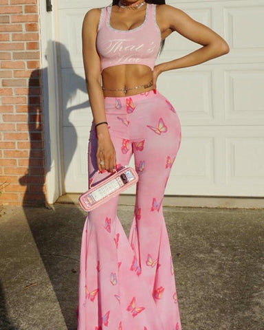 Butterfly Print Skinny Bell Pants