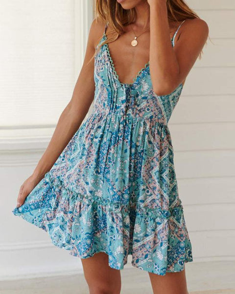 Spaghetti Strap Floral Print Casual Dress