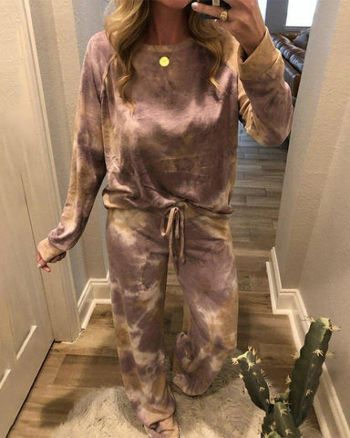 Tie Dye Long Sleeve Lace-up Pajamas Sets