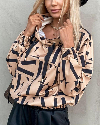 Letter Print Long Sleeve Loose Blouse