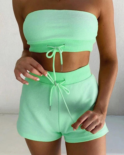 Solid Bandeau Crop Tank Shorts Sets