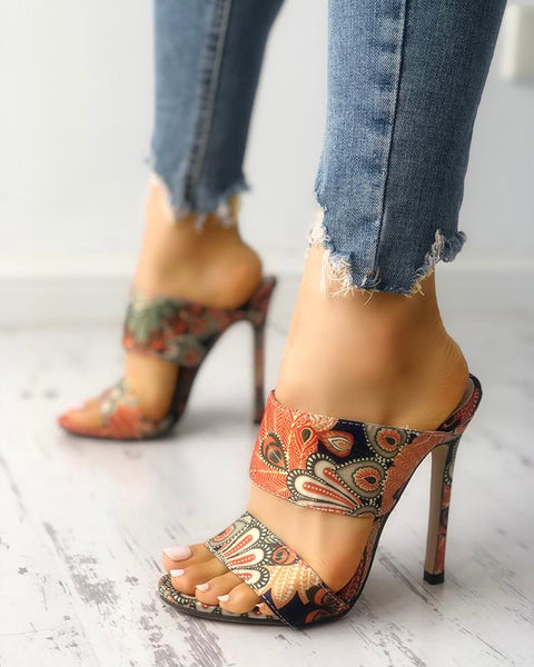 Peacock Feather Print Heel Sandals
