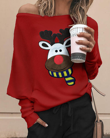 Christmas Moose Print Ribbed Top