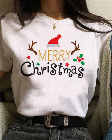 Christmas Cartoon Print Short Sleeve T-shirt