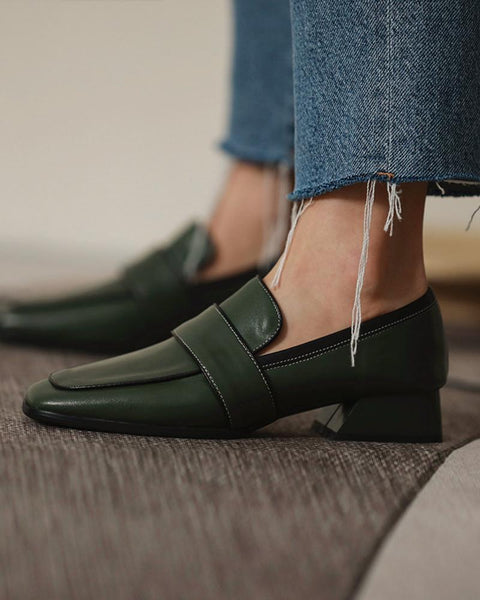Color Block Square Toes Loafers